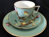 Hand painted VICTORIAN tea trio cup saucer plate